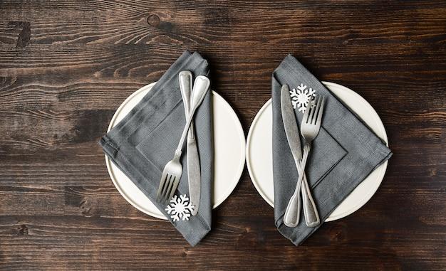 Ajuste de mesa de inverno сhristmas jantar almoço