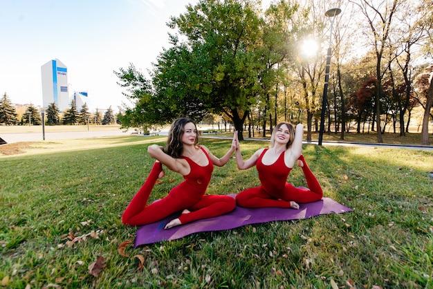 Ajuste jovens estudantes avançados de ioga, fazendo pose estendida de triângulo ao ar livre, realizando excelentes resultados do trabalho árduo diário.
