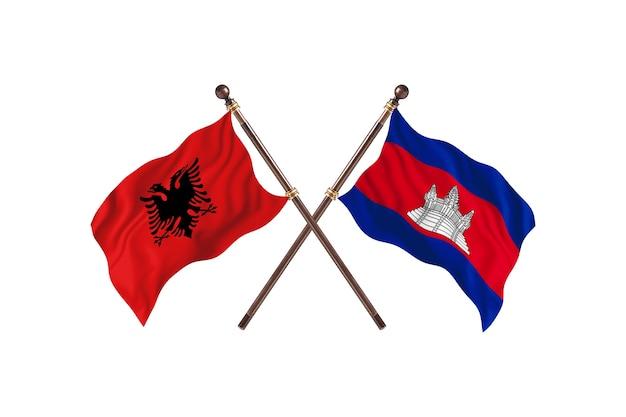 Albânia contra camboja duas bandeiras