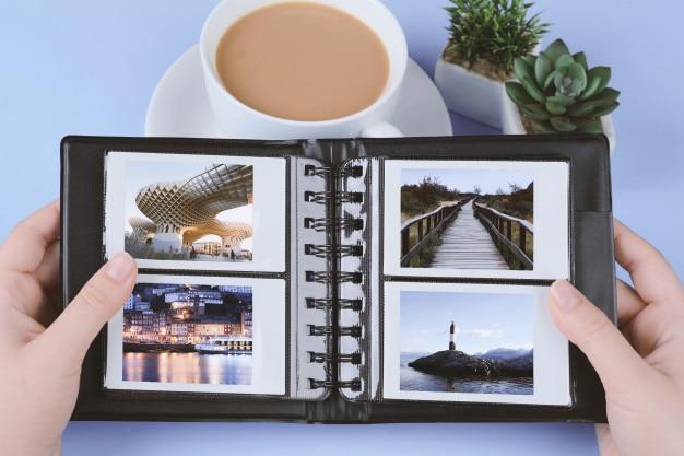 Álbum de fotos com fotos instantâneas de paisagens