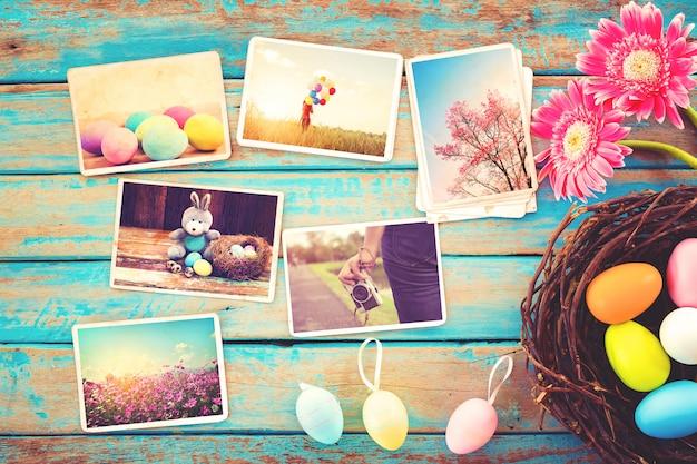 Álbum de fotos em lembrança e nostalgia do feliz dia da páscoa