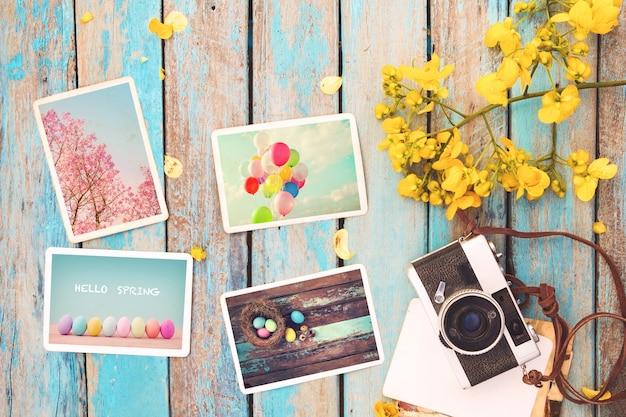 Álbum de fotos em memória e nostalgia do feliz dia de páscoa