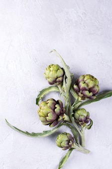 Alcachofras cruas frescas sobre fundo cinza. flor de alcachofra orgânica madura com espaço de cópia