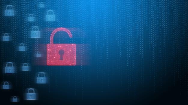 Alerta de invasão do sistema de segurança com ícone de cadeado quebrado vermelho mostrando dados não protegidos sob ataque cibernético