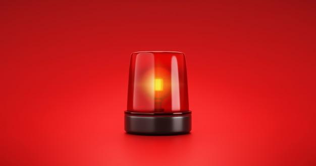 Alerta de urgência de sirene de emergência vermelha e sinal de luz de atenção de polícia de segurança ou sinal de alarme de perigo de resgate de ambulância de flash de farol no fundo de aviso do carro com acidente de lâmpada de tráfego brilhante. 3d render.