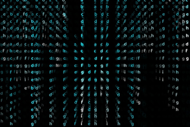 Alfabeto da matriz dimensão profunda cor azul abstrato texto fundo