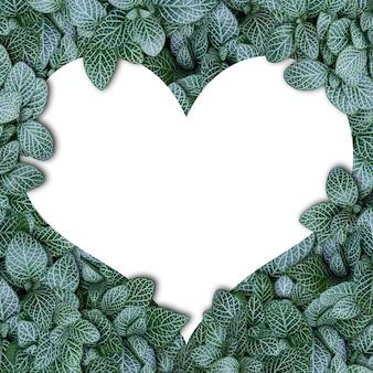 Alfabeto de conceito de natureza de folhas verdes em formas de coração do alfabeto