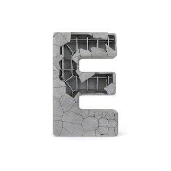 Alfabeto de concreto quebrado e