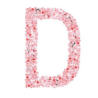 Alfabeto de flor de sakura. letra d