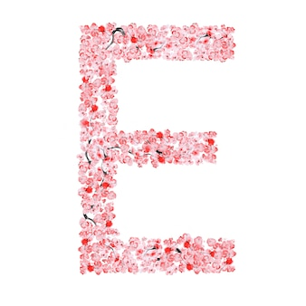 Alfabeto de flor de sakura. letra e