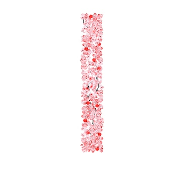 Alfabeto de flor de sakura. letra i