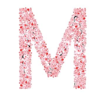 Alfabeto de flor de sakura. letra m