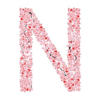 Alfabeto de flor de sakura. letra n