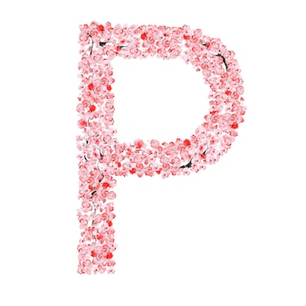 Alfabeto de flor de sakura. letra p
