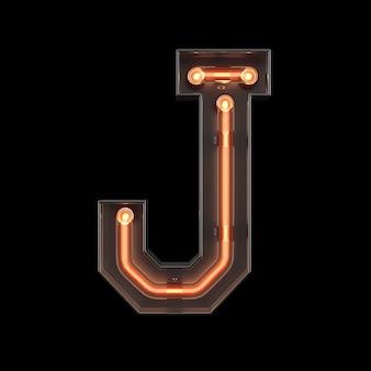 Alfabeto de luz néon j