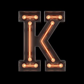 Alfabeto de luz néon k