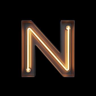 Alfabeto de luz néon n