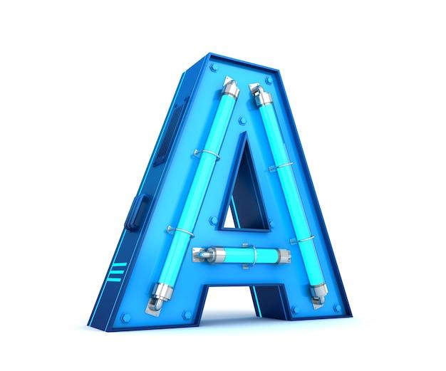 Alfabeto de luz neon renderização em 3d com o traçado de recorte