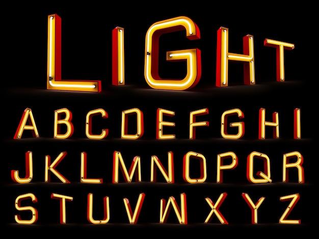 Alfabeto de luz neon renderização em 3d em fundo preto