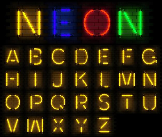 Alfabeto de luz neon renderização em 3d no fundo do tijolo