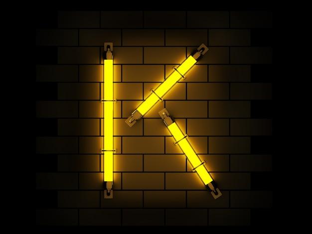 Alfabeto de luz néon renderização em 3d sobre fundo de tijolo com traçado de recorte