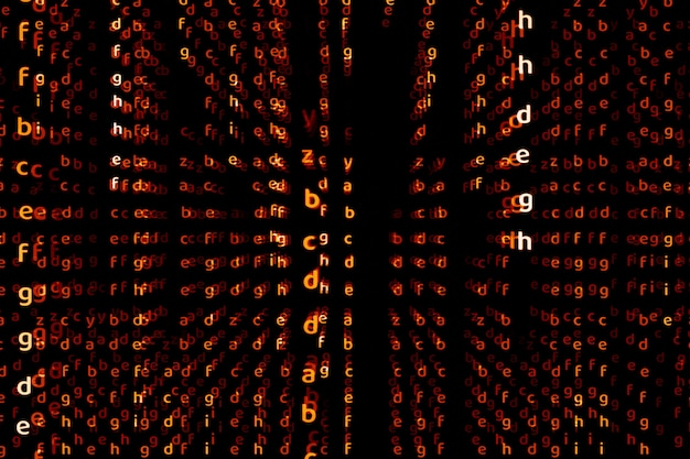 Alfabeto dimensão profunda alerta vermelho tom abstrato texto fundo