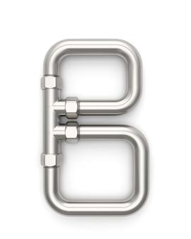 Alfabeto feito de tubo de metal, letra b renderização em 3d