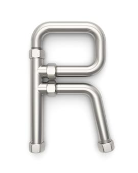 Alfabeto feito de tubo de metal, renderização de letra r 3d