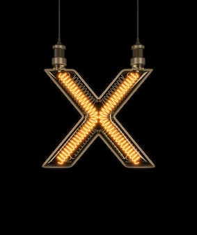 Alfabeto x feito de lâmpada.