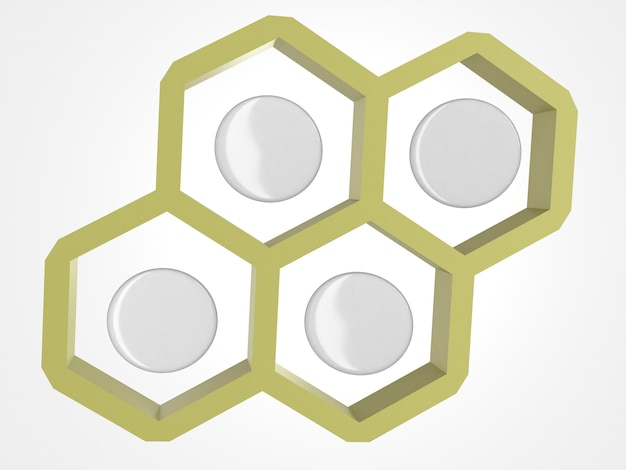Alfinetes de espaço de cópia 3d abstrata em um favo de mel