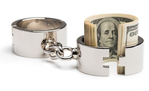 Algemas de ferro metálico cromado com dólares