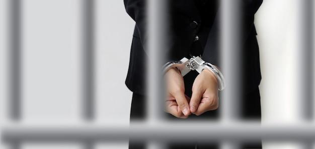 Algemas trancam os grilhões do acusado para prender o processo de investigação após o tribunal. em um fundo branco com gaiola de desfoque