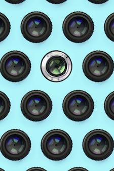 Algumas lentes de câmera com um padrão de abertura fechada