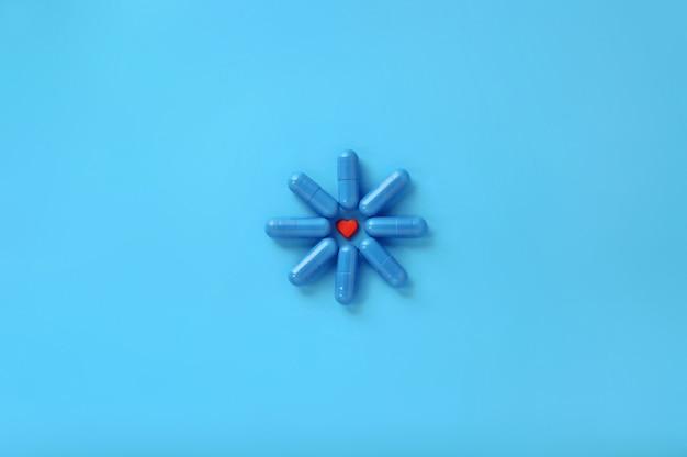 Alguns comprimidos em azul