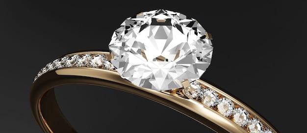 Aliança de ouro com diamantes em preto