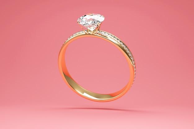Aliança de ouro com diamantes no fundo do estúdio
