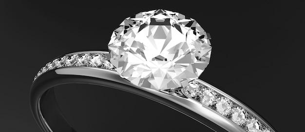 Aliança de platina com diamantes no fundo do estúdio
