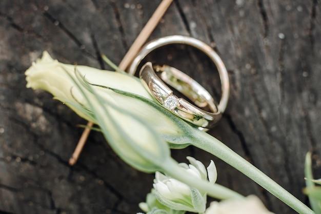 Alianças de casamento com flores rosas, foco seletivo.