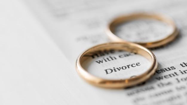 Alianças de casamento em pedaço de papel
