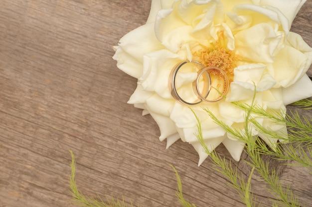 Alianças de casamento em rosa branca em fundo de madeira