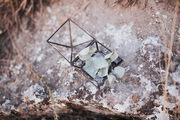 Alianças de casamento em uma caixa metálica de vidro