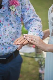Alianças de casamento nas mãos de noivos