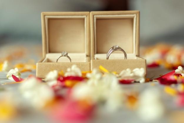 Alianças de casamento no dia da cerimônia de casamento