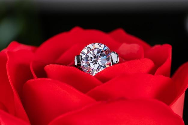 Alianças de diamante em rosas vermelhas