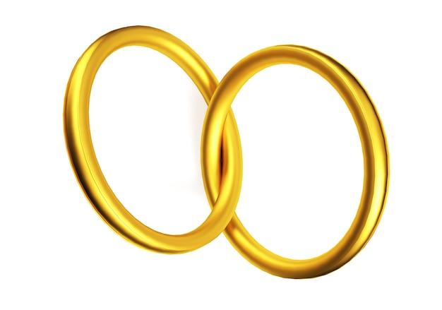 Alianças de ouro ligadas em forma de coração isolada no fundo branco. renderização 3d.