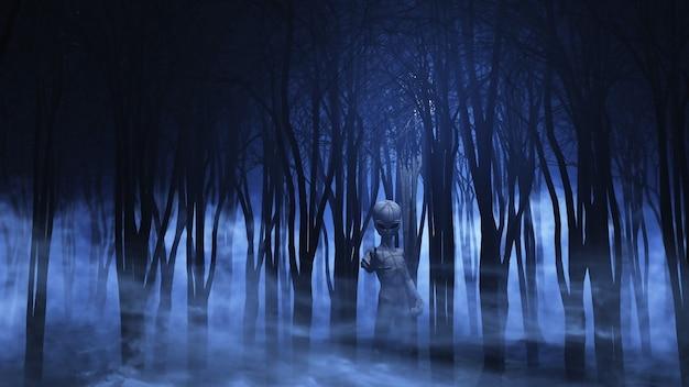 Alien 3d em uma floresta nevoenta