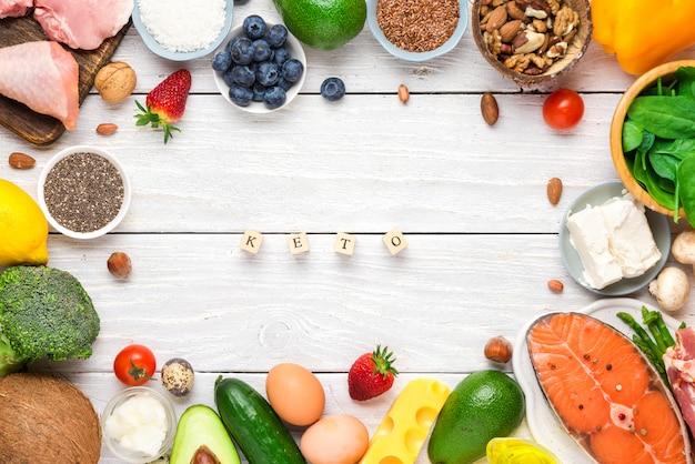 Alimentação saudável dieta cetogênica de baixo carboidrato. produtos ricos em gorduras boas. vista do topo
