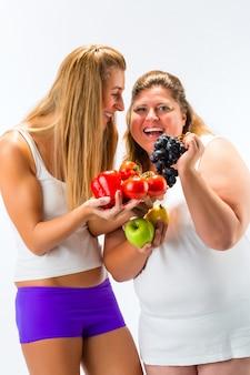 Alimentação saudável, mulheres, frutas e legumes