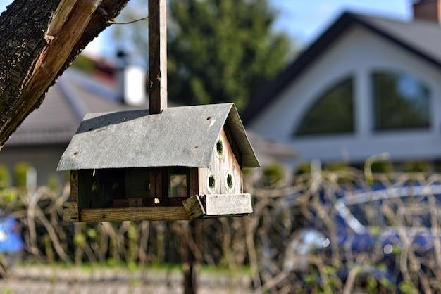 Alimentador de pássaro artesanal pendurado em uma árvore no quintal