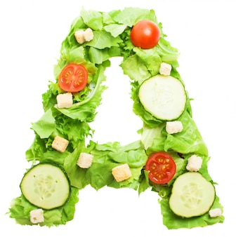 Alimento saudável para a letra a